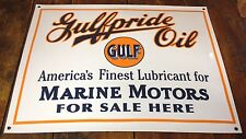 GULFPRIDE OIL GULF GASOLINE MARINE MOTORS FOR SALE PORCELAIN ENAMEL ADV SIGN