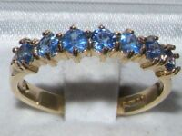 SOLID 14K 585 Yellow Gold Ladies Blue Sapphire Anniversary Eternity Ring