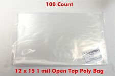 Uline 100 Pcs 12x15 1 Mil Clear Poly Plastic Bag Flat T Shirt Apparel Packaging