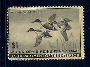 US Stamps - #RW12 - MH  - $1  1945 Duck Hunting Stamp - CV $45