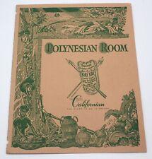 Polynesian Room Hotel California Fresno California 1951 Tiki  Restaurant Menu