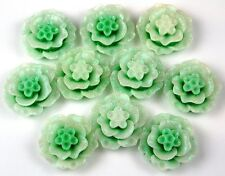 10pcs Mint Glitter Flowers Resin Flatbacks Scrapbooking Cabochons Jewelry 20mm