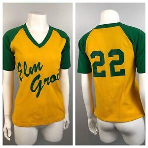 1970s Jersey Shirt / 70s Green & Gold Mesh Baseball Shirt Raglan Sleeve / Small