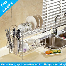 2 levels Stainless steel Plate/Tray Dish Cutlery Cup Drainer Rack Drip Holder
