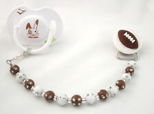 Football with Brown and White Mini Beads Baby Pacifier Clip