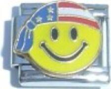 Happy Face with USA Flag Do-Rag 9mm Italian Charm Fits Standard Bracelet