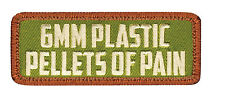 6mm Plastic Pellets of Pain Airsoft Olive Drab Morale Patch Hook Loop Back