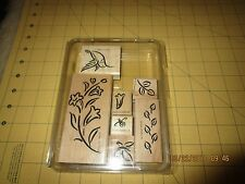 Stampin' Up! BRUSHSTROKE HUMMINGBIRD Bee Flowers Set/7 Rubber Stamps