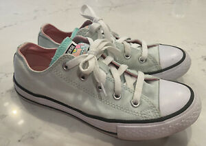 Girls CONVERSE All Star Sneakers - Size 2 - Mint Green - EUC