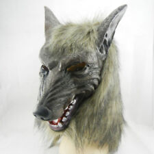 Latex Animal Wolf Head With Hair Mask Cosplay Costume Party Prop Scary Halloween