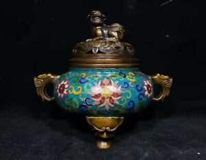 Collectibles Copper Cloisonne Exquisite Incense Burner Brass Statue AP407