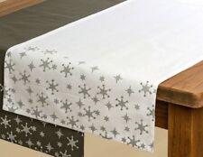Tischläufer weiß mit silbernen Sternen 140x40cm, Stoff Tischtuch, Tischdecke