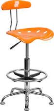 Vibrant Orange And Chrome Drafting Stool With Tractor Seat Lf 215 Orangeyel