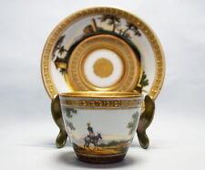 Temprana Meissen taza köppchen con panorama Cup with platillo a finales siglo 18..