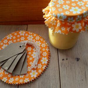 12 Jam Pot Covers & Labels & Tags, Floral Cotton Jam Jar Covers | Handmade UK