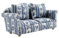 White & Blue Flower Patterned Sofa, Doll House Miniature Furniture, 1.12 Scale