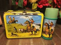 PATHFINDER COWBOY and INDIAN metal lunch box w/ thermos Vintage 1959 RARE HTF