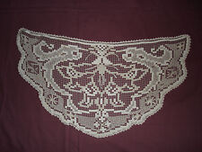 #342 Beautiful Vintage Handmade  Filet Doily  31.5''/16.5''(80cm/42cm)