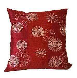 ONE PAIR RED CUSHION COVERS CONTRASTING CIRCLE EMBROIDERED LIKE DESIGN