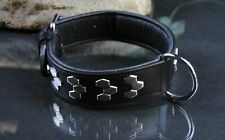 Lederhalsband 4cm x 70cm Gr.L-XL schwarz silberne Applikationen, Rottweiler
