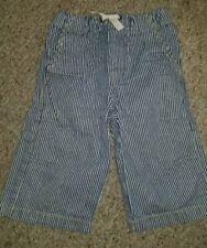 MINI BODEN Blue and White Striped Drawstring Waist Denim Jeans Shorts Size 6