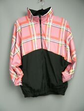 Vintage Look Shell Suit Style Jacket Size 14-16 Pink Check Black Casual Zip-Up