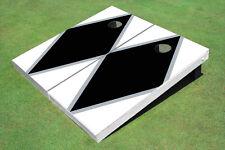 Black And White Matching Diamond Custom Cornhole Board