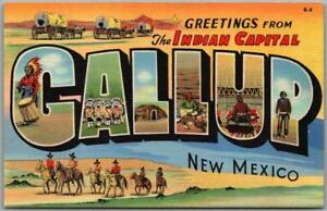 """GALLUP, New Mexico Large Letter Postcard """"The Indian Capital"""" Curteich Linen"""