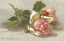 Blume, Rosen, C. Klein, Catharina Klein, Litho-Künstlerkarte mit Glimmer