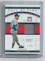 TOMMY LASORDA 2020 NATIONAL TREASURES HOF HOLO GOLD GAME USED JERSEY #/25