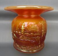 Modern Fenton SEACOAST Peach Opal Carnival Glass ACGA Spittoon Souvenir 6355