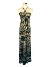 BLUSH Dress - Vintage Retro Style Boho Hippy Maxi Halter Tie Brown Green S/6/8