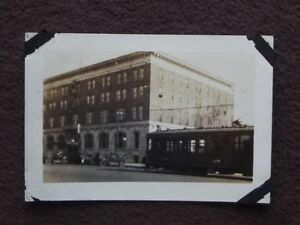 UNKNOWN TROLLEY GOING PASS YMCA? OFFICE BUILDING Vintage 1920's PHOTO #2