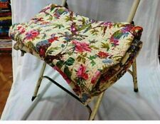Indian Bird Print Kantha Queen Size Quilt Cotton Beige Bedspread Blanket Throw