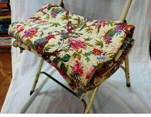 Indian Bird Print Kantha Queen Size Quilt Cotton Beige Bedspread Blanket Throw
