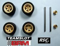 TEAM SLOT  4 LLANTAS LANCIA STRATOS GOLD + EJES PRO 40 MM + 4 NEUMATICOS BRM