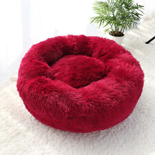 Soft Red Plush Dog Cushion Sleeping Bed Pet Cat Calming Bed Donuts Nest  XS-2XL