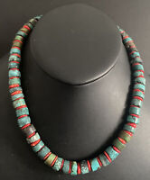 Sterling Silver Turquoise Coral Heishi Bead Necklace. 18 inch
