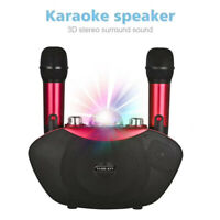 Bluetooth Wireless Microphone Karaoke Stereo MIC KTV Indoor Home With Neon Light