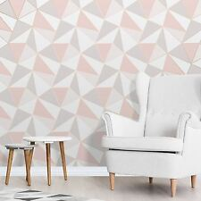 APEX GEOMETRIC WALLPAPER ROSE GOLD / PINK - FINE DECOR FD41993 LUXURY