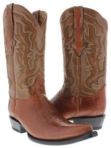 mens cognac real lizard armadillo skin leather western cowboy boots 3x toe