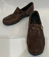 Clarks Brown Leather Side Button Unstructured Casual Loafers Shoes Women's 7.5 M