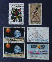 sellos España Lote de 6 Stamp variados expo 92, España 82,etc. usados