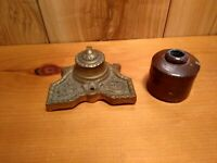 Antique brass inkwell and stoneware ink pot lot of 2 pcs.