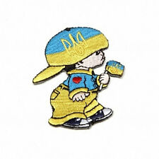 UKRAINE WITH TRIDENT LITTLE BOY COUNTRY FLAG IRON-ON PATCH CREST BADGE 3X2 INCH
