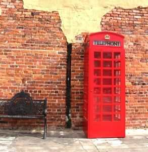 Red British Wood Telephone Phone Box Booth English Like Cast Iron Style