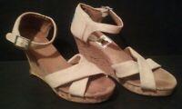 TOMS Women's Tan Burlap Criss Cross Cork Wedge Sandals, Size: 7.5, Beige Heels