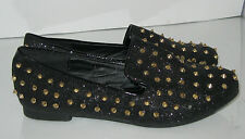 new ladies Black Gold Spikes Low Heel Slip On sexy round toe Ballet Flats Size 8