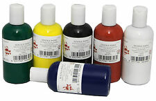 SCOLA SET OF ALL 6 x 150ml COLOUR FABRIC PAINT RED GREEN WHITE BLUE BLACK YELLOW