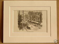 CLARK STREET CHICAGO USA V RARE ANTIQUE MOUNTED ENGRAVING FROM 1876 PUBLICATION